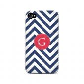 Cherry Button G on Navy Blue Zig Zags - Geeks Designer Line Monogram Series Matte Case for Apple iPhone 4/4S