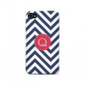 Cherry Button Q on Navy Blue Zig Zags - Geeks Designer Line Monogram Series Matte Case for Apple iPhone 4/4S