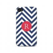 Cherry Button R on Navy Blue Zig Zags - Geeks Designer Line Monogram Series Matte Case for Apple iPhone 4/4S