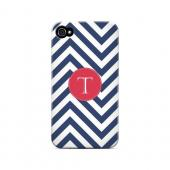Cherry Button T on Navy Blue Zig Zags - Geeks Designer Line Monogram Series Matte Case for Apple iPhone 4/4S