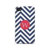 Cherry Button W on Navy Blue Zig Zags - Geeks Designer Line Monogram Series Matte Case for Apple iPhone 4/4S