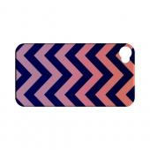 Pink/ Navy Blue Gradient Geeks Designer Line Zig Zag Series Slim Hard Case for Apple iPhone 4/4S