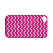 White on Hot Pink Geeks Designer Line Zig Zag Series Slim Hard Case for Apple iPhone 4/4S