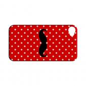 Stache on Red Geeks Designer Line Polka Dot Series Slim Hard Case for Apple iPhone 4/4S