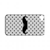 Stache on White Geeks Designer Line Polka Dot Series Slim Hard Case for Apple iPhone 4/4S