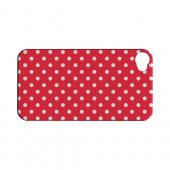 White Dots on Red Geeks Designer Line Polka Dot Series Slim Hard Case for Apple iPhone 4/4S