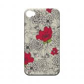Flower Outline Red Accent - Geeks Designer Line Floral Series Matte Case for Apple iPhone 4/4S