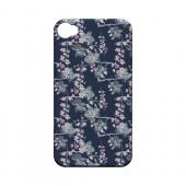 Pink/ White Floral on Blue - Geeks Designer Line Floral Series Matte Case for Apple iPhone 4/4S