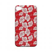 White Hibiscus on Red - Geeks Designer Line Floral Series Matte Case for Apple iPhone 4/4S