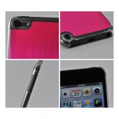 Clear Hard Case w/ Hot Pink Aluminum Back for Apple iPod Touch 5