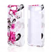Magenta Flowers w/ Black Vines on White Hard Case for Kyocera Hydro Elite C6750