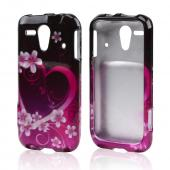 Pink Heart and Flowers on Black Hard Case for Kyocera Hydro Edge