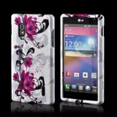 Magenta Flowers & Black Vines on White Hard Case for LG Optimus G (AT&T)
