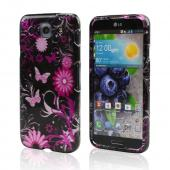 Hot Pink Butterflies & Flowers on Black Hard Case for LG Optimus G Pro