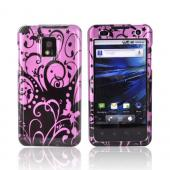 T-Mobile G2X Hard Case - Black Swirls on Pink