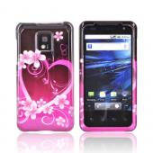 T-Mobile G2X Hard Case - Pink Flowers & Hearts on Black