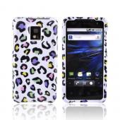 T-Mobile G2X Hard Case - Rainbow Leopard on White