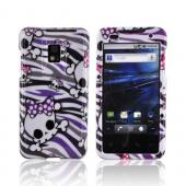 T-Mobile G2X Hard Case - White Skulls on Gray/ Purple Zebra