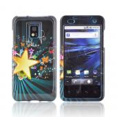 T-Mobile G2X Hard Case - Star Blast & Butterflies on Teal/ Black