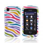 LG Encore GT550 Hard Case - Colorful Zebra on White