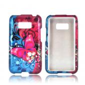 LG Optimus Elite Hard Case - Hot Pink Butterfly Bliss