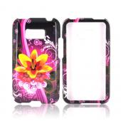 LG Optimus Elite Hard Case - Yellow & Red Dream Flowers on Hot Pink