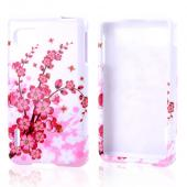 Pink Cherry Blossoms on White Hard Case for LG Optimus F3 - Sprint/ Virgin Mobile