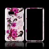 LG Mach Hard Case - Magenta Flowers & Black Vines on White