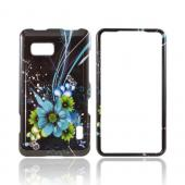 LG Mach Hard Case - Turquoise/ Green Flowers on Black