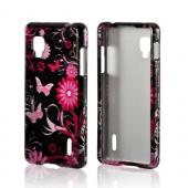 Pink Flowers and Butterflies on Black Hard Case for LG Optimus G (Sprint)