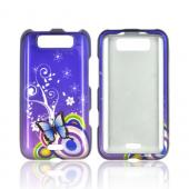 LG Viper 4G LTE/ LG Connect 4G Hard Case - Blue Butterfly and Swirls on Purple
