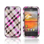 T-Mobile MyTouch Hard Case - Plaid Pattern of Hot Pink & Brown on Silver