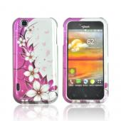 T- Mobile MyTouch Hard Case - White Flowers on Pink/ Silver
