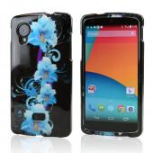 Blue Flowers on Black Hard Case for LG Google Nexus 5
