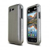 Black/ Gray Carbon Fiber Design LG Optimus Zone 2 Hard Case Cover; Perfect fit as Best Coolest Design Plastic Cases