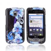 LG Optimus T / LG Thrive Hard Case - Blue Flowers on Black