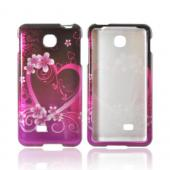 LG Escape Hard Case - Hot Pink/ Purple Flowers & Heart