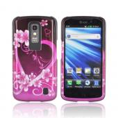 LG Nitro HD Hard Case - Hot Pink/ Purple Flowers & Hearts