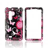 LG Thrill 4G Hard Case - Pink Flowers & Butterflies on Black