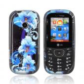 LG Cosmos 2 VN251 Hard Case - Blue Flowers on Black