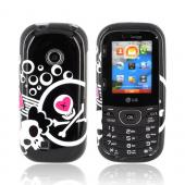 LG Cosmos 2 VN251 Hard Case - White Skulls & Pink Hearts on Black