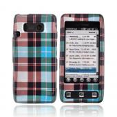 LG Fathom VS750 Hard Case - Plaid Pattern of Blue, Brown, Gray