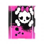 LG Lucid 4G Hard Case - White Skull w/ Bow on Hot Pink