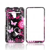 LG Revolution, LG Esteem Hard Case - Pink Butterflies & Flowers on Black