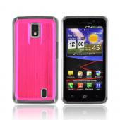 LG Spectrum Hard Back Case w/ Aluminum Back & Clear Bumper - Hot Pink