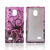 LG Optimus VS930 (Optimus LTE II) Hard Case - Black Vines on Pink