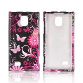 LG Optimus VS930 (Optimus LTE II) Hard Case - Pink Flowers & Butterflies on Black