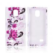 LG Spectrum 2 Hard Case - Magenta Flowers & Black Vines on White