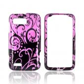 Motorola Atrix 2 Hard Case - Black Swirl Design on Purple