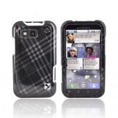 Motorola Defy Hard Case - Checkered Gray Diamonds on Black